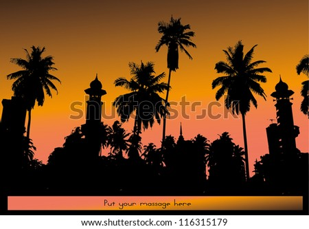 vector silhouette of palm trees and a mosque