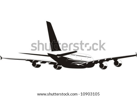 Vector silhouette of passenger jetliner. Isolated on white background. More transportation illustrations see in my portfolio.