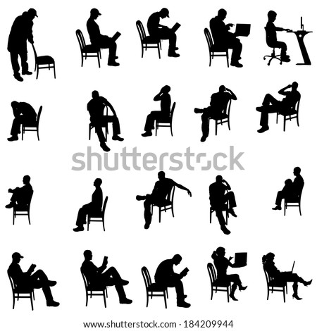 Vector Silhouette Of People Sitting On A White Background