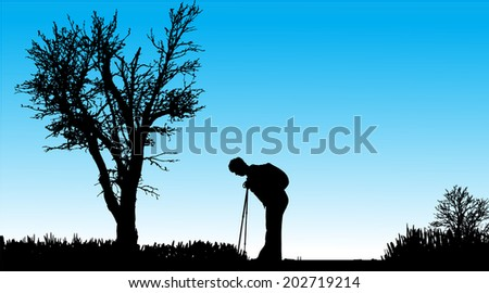 Vector silhouette of people with nordic walking in nature.