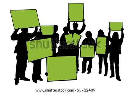 Vector silhouette of protesters with banners