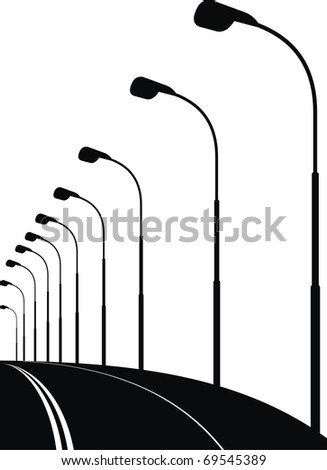 Vector silhouette of street lanterns on night urban street - black illustration