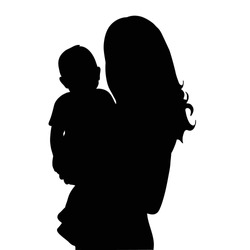 vector silhouette of the baby and the mother