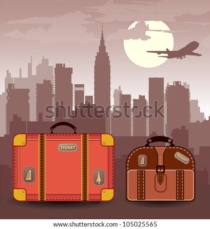 Vector silhouette of the city with suitcases for travel