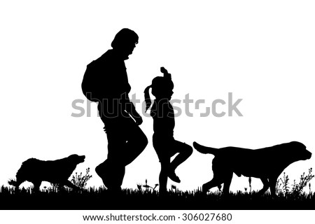 vector silhouette of the family