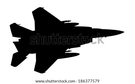 Vector silhouette of the fighter jet (F-15) in flight.