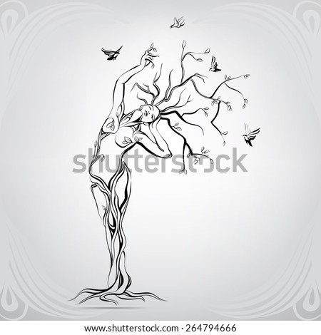 vector silhouette of the girl