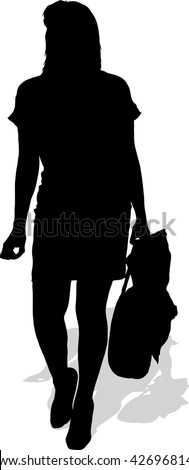 Vector silhouette of the girl with purchases