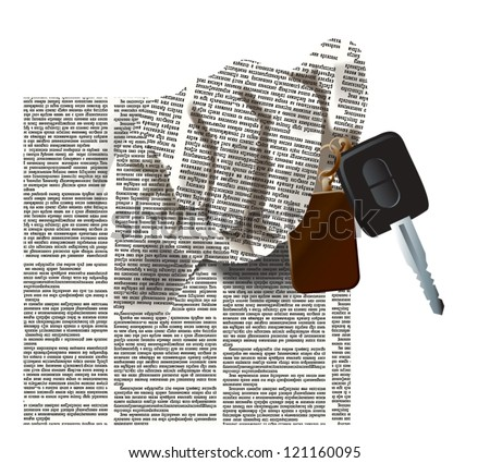 Vector silhouette of the hand of newspaper columns texture with a car keys. Text on the newspaper unreadable. Newspaper pattern on background is seamless.