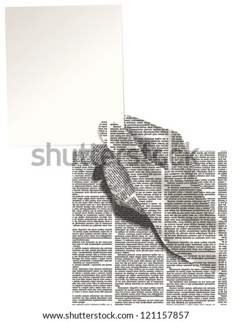 Vector silhouette of the hand of newspaper columns texture with a clean card with place for your text. Text on the newspaper unreadable. Newspaper pattern seamless.