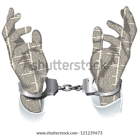 Vector silhouette of the handcuffed hands of newspaper columns texture. All texts are unreadable.