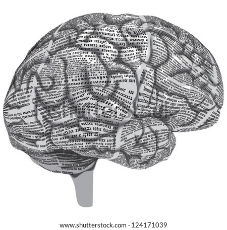 Vector silhouette of the human brain of newspaper columns texture. Text on the newspaper unreadable. - stock vector