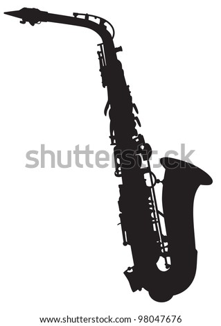 vector silhouette of the saxophone