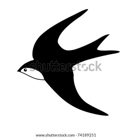 vector silhouette of the swallow on white background