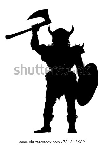 vector silhouette of the Viking warrior with an axe in hand