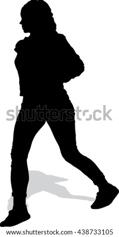 Vector silhouette of the walking girl with a handbag