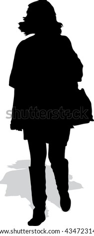 Vector silhouette of the walking woman in boots with a handbag