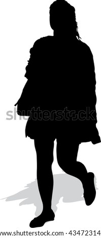 Vector silhouette of the walking woman with a handbag