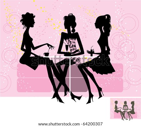 Vector. Silhouette of three girls.