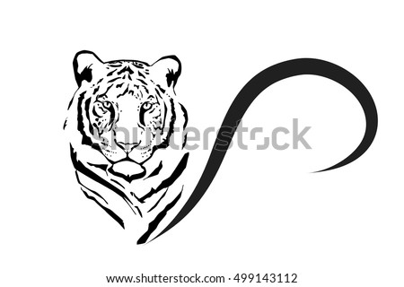 vector silhouette of tiger on