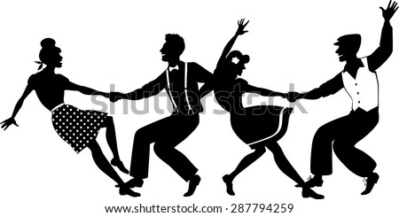 Vector silhouette of two young couple dressed in 1940s fashion dancing lindy hop or swing in a formation, no white objects, isolated on white, no transparencies, EPS 8