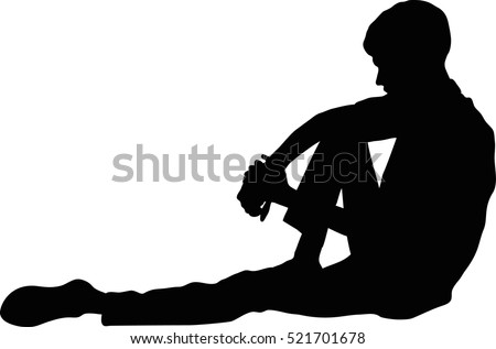 vector silhouette of very sad
