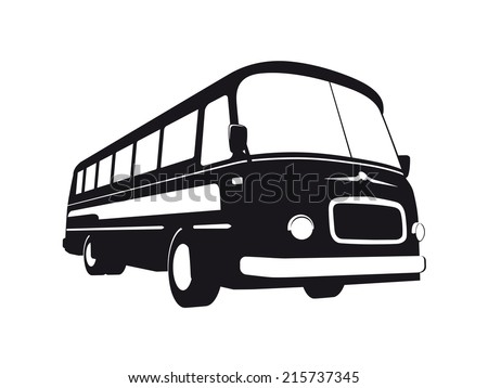 Vector silhouette of vintage bus, black on white background