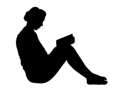 Vector silhouette of woman read book on white background for web or ad