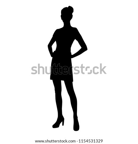 Vector silhouette of woman  standing, business people, black color,  isolated on white background