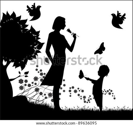 Vector silhouette of woman with small child and flowers