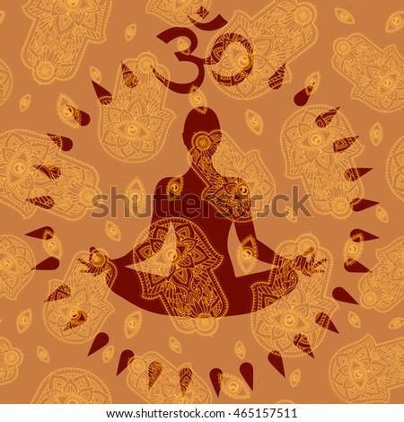 vector silhouette of yoga lotus pose padmasana and om