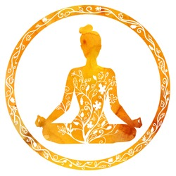 Vector silhouette of yoga woman in circle frame with bright orange watercolor texture and floral ornament. Autumn colors and tree leaves decoration. Lotus pose - Padmasana.