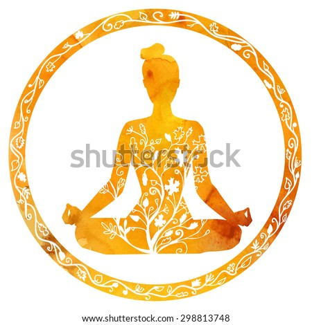 vector silhouette of yoga woman