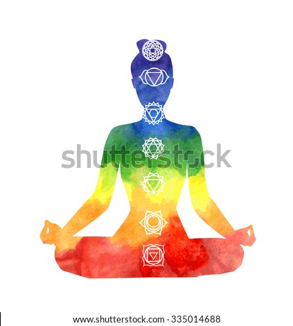 Vector silhouette of yoga woman with chakra symbols. Bright watercolor texture and white background. Padmasana - Lotus pose.