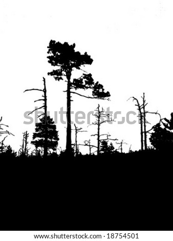 vector silhouette old wood on white background