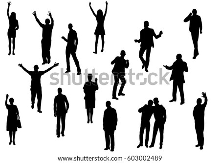 Vector, silhouette people are happy dancing, isolated, collection