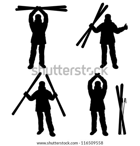 Vector silhouette set of different winter sports. Happy skiing finisher part 3
