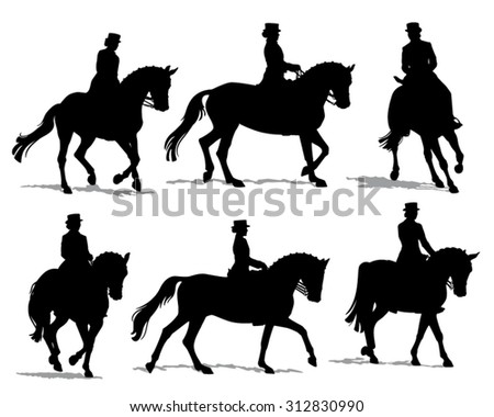 Vector Silhouette Set Of Horses With Female Rider ...