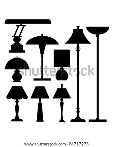 Vector silhouette set of lamps and lighting