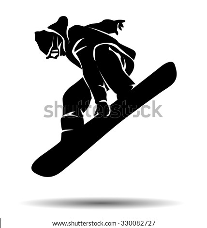 vector silhouette snowboarder