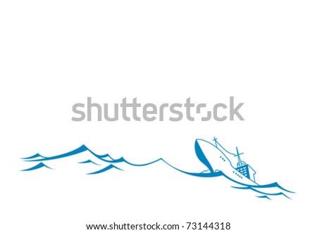 vector silhouette tanker on white background