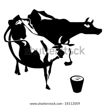 vector silhouette two cows on white background