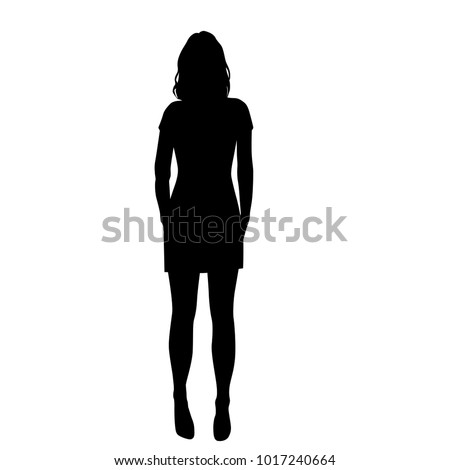 Vector silhouette  woman standing, people, black color, isolated on white background #1017240664