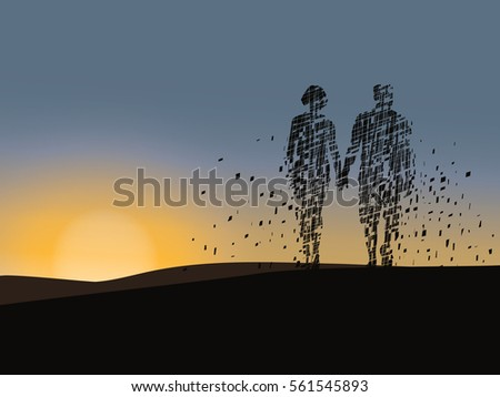 vector silhouetted of relaxed