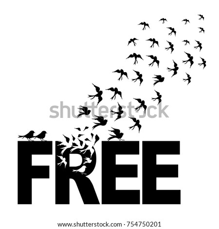 vector silhouettes   a flock of