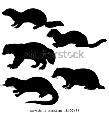 vector silhouettes animal on