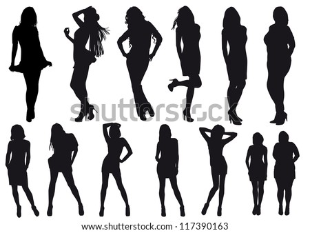 vector silhouettes drawing girl