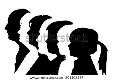 vector silhouettes family in