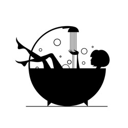 Vector silhouettes: girls in the bath.