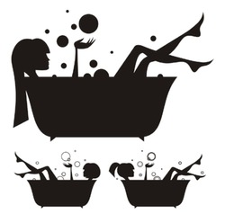 Vector silhouettes: girls in the bath